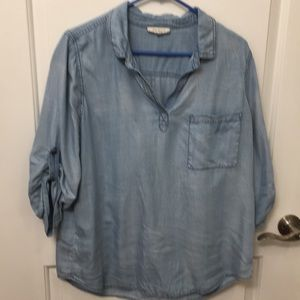 Skies Are Blue Chambray popover shirt